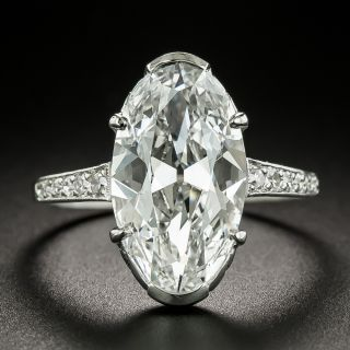 Art Deco 4.45 Carat Oval-Cut Diamond Engagement Ring GIA - D IF Type IIA 'Golconda' - 8