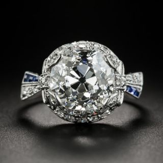 Art Deco 4.97 Carat Cushion Cut Diamond & Sapphire Ring - GIA I SI1 - 2