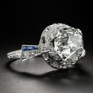 Art Deco 4.97 Carat Cushion Cut Diamond & Sapphire Ring - GIA I SI1