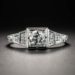 Art Deco .40 Carat Diamond Platinum Engagement Ring  - 1