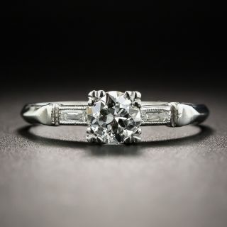 Art Deco .46 Carat Platinum Diamond Engagement Ring  - 1