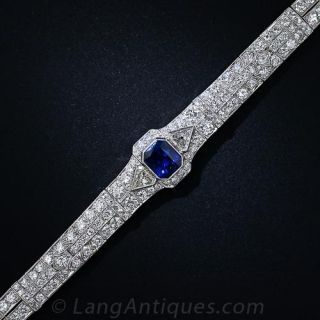 Art Deco 5.09 Carat Sapphire and Diamond Platinum Bracelet  - 3
