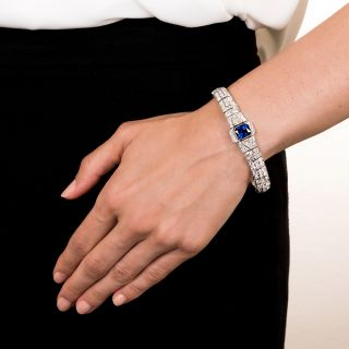 Art Deco 5.09 Carat Sapphire and Diamond Platinum Bracelet