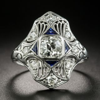 Art Deco .50 Carat Diamond and Synthetic Sapphire Dinner Ring - 2
