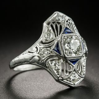Art Deco .50 Carat Diamond and Synthetic Sapphire Dinner Ring