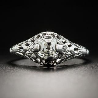 Art Deco .55 Carat Cushion-Cut Diamond Engagement Ring by Traube - 2