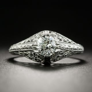Art Deco .55 Carat Solitaire Diamond Engagement Ring - 2