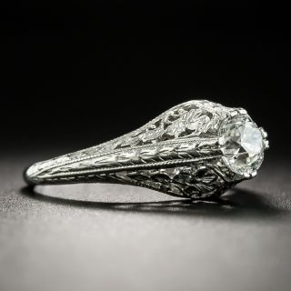 Art Deco .55 Carat Solitaire Diamond Engagement Ring