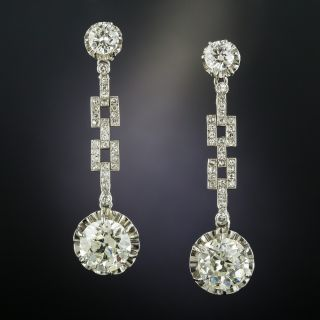 Art Deco 6.00 Carat Total Weight Diamond Drop Earrings  - 2
