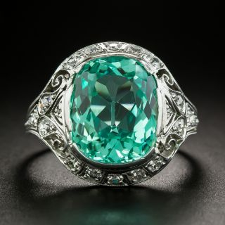 Art Deco 6.25 Carat Emerald Ring - AGL Enhancement 'None' - 3
