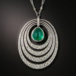 Art Deco 6.61 Carat Emerald and Diamond Pendant Necklace - 4