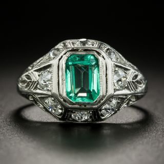 Art Deco .60 Carat Emerald and Diamond Ring - 3