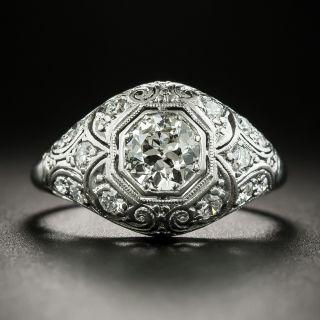 Art Deco .65 Carat Diamond Domed Platinum Engagement Ring - 2