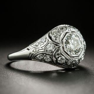 Art Deco .65 Carat Diamond Domed Platinum Engagement Ring