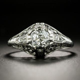 Art Deco .67 Carat Diamond Solitaire Engagement Ring - GIA H VS2 - 2