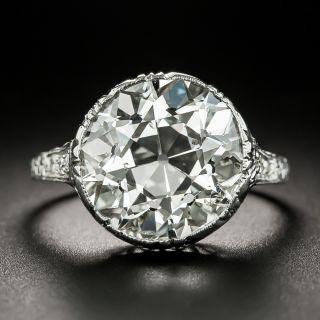 Art Deco 7.57 Carat European-Cut Diamond Engagement Ring - GIA J I1 - 2