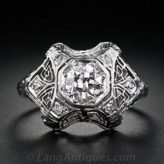 Art Deco .70 Carat Diamond Engagement Ring - 1
