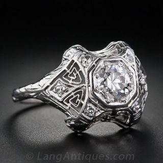 Art Deco .70 Carat Diamond Engagement Ring
