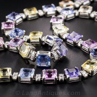 Art Deco 75 Carat Multi-Color Natural No-Heat Sapphire and Diamond Necklace - 5