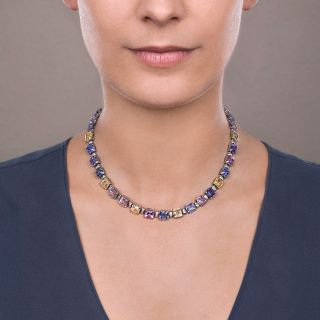 Art Deco 75 Carat Multi-Color Natural No-Heat Sapphire and Diamond Necklace