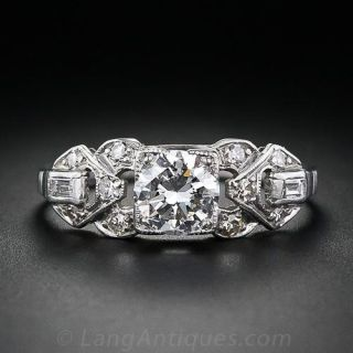 Art Deco .76 Carat Diamond Engagement Ring - GIA F VS1 - 1