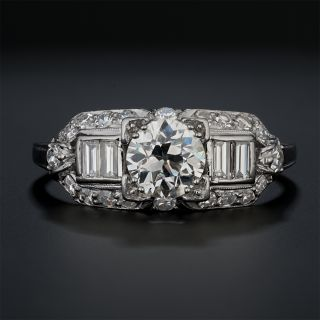 Art Deco .78 Carat Carat Diamond Platinum Engagement Ring by Granat Brothers - 2