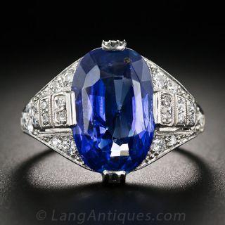 8.43 Carat Ceylon No Heat Sapphire Art Deco Ring - 1
