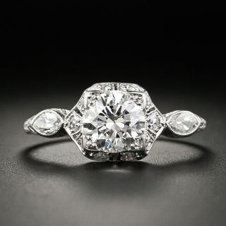 Art Deco .82 Carat Diamond Engagement Ring - 2