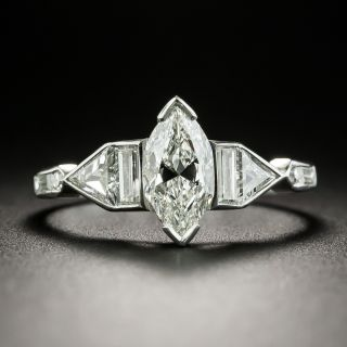 Art Deco .85 Carat Marquise-Cut Diamond Engagement Ring - 2