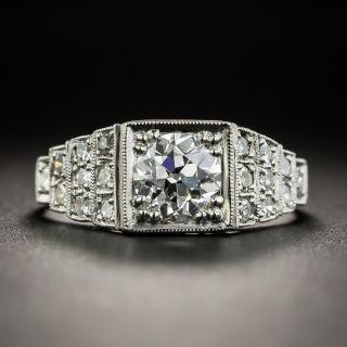 Art Deco .89 Carat Diamond Platinum Engagement Ring - GIA H SI2 - 1