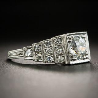 Art Deco .89 Carat Diamond Platinum Engagement Ring - GIA H SI2