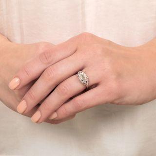 Art Deco .90 Carat Square Emerald-Cut Diamond Engagement Ring - GIA K VVS2