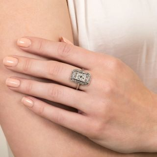 French Art Deco .91 Carat Center Diamond Dinner Ring
