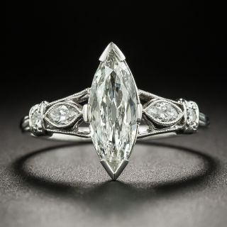 Art Deco .94 Carat Marquise-Cut Diamond Engagement Ring - GIA H VS2 - 2