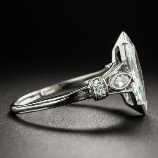 Art Deco .94 Carat Marquise-Cut Diamond Engagement Ring - GIA H VS2