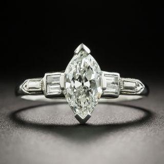 Art Deco .94 Carat Marquise Cut Diamond Engagement Ring - GIA H VVS2 - 1