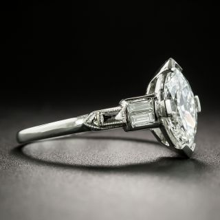Art Deco .94 Carat Marquise Cut Diamond Engagement Ring - GIA H VVS2