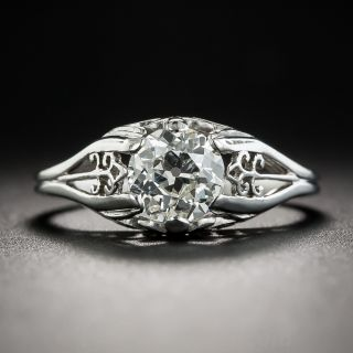 Art Deco .94 Carats Diamond Solitaire Engagement Ring - GIA J SI2