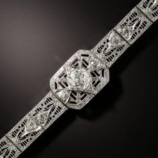 Art Deco .95 Carat Center Diamond Filigree Bracelet - 3