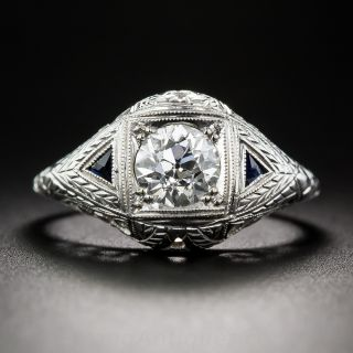 Art Deco .95 Carat Diamond Engagement Ring - 1