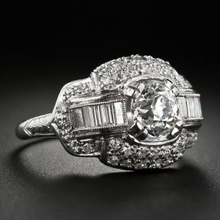 Art Deco .96 Carat Diamond Engagement Ring - GIA H SI1