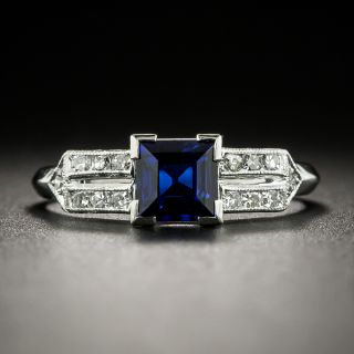 Art Deco .98 Carat Square Sapphire and Diamond Ring by Katz and Ogush - GIA - 3