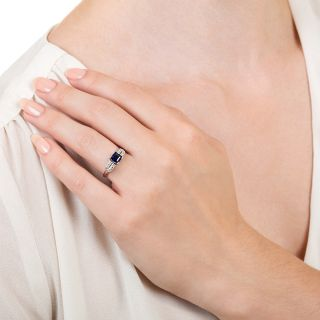 Art Deco .98 Carat Square No-Heat Sapphire and Diamond Ring by Katz and Ogush - GIA