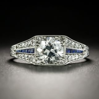 Art Deco .99 Carat Diamond and Calibre Sapphire Engagement Ring - GIA - 2
