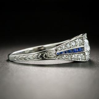 Art Deco .99 Carat Diamond and Calibre Sapphire Engagement Ring - GIA