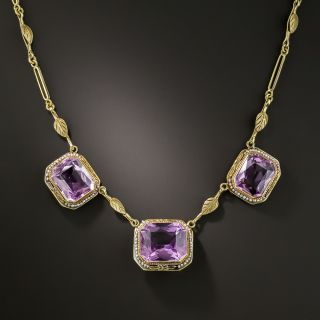 Art Deco Amethyst and Seed Pearl Necklace  - 2