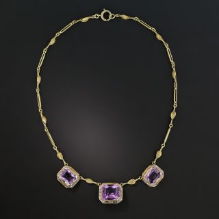Art Deco Amethyst and Seed Pearl Necklace