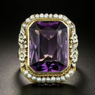 Art Deco Amethyst and Seed Pearl Ring by White, Wile, and Warner - 3