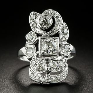 Art Deco Assymmetrical Diamond Dinner Ring - 2