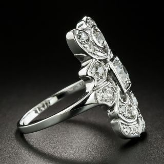 Art Deco Asymmetrical Diamond Dinner Ring